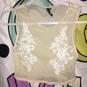 Mesh urban outfitters tank with lace design!
